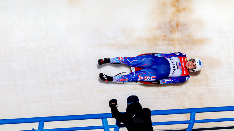 December 8,2018 - Calgary, AB - Summer Britcher of Team USA during Viessmann Team Relay World Cup competition at the Winsport Sliding Track.