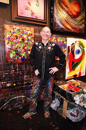 J.D. Miller, Artist, With His Work<br /> Samuel Lynn Gallery, Dallas<br /> Daniel Driensky © 2011