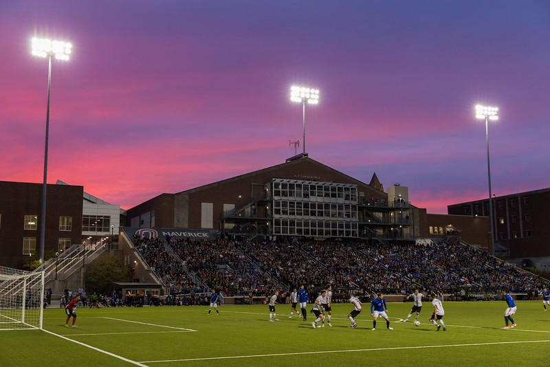 Sunset descends upon Caniglia Field as Creighton faces the University of Nebraska-Omaha on September 26, 2017 in Omaha, Nebraska.