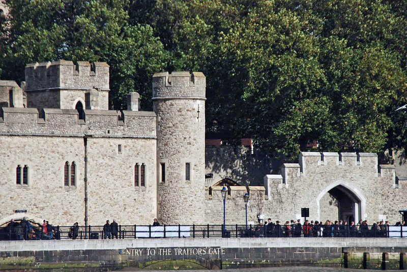 The Tower of London as seen from the River Thames.