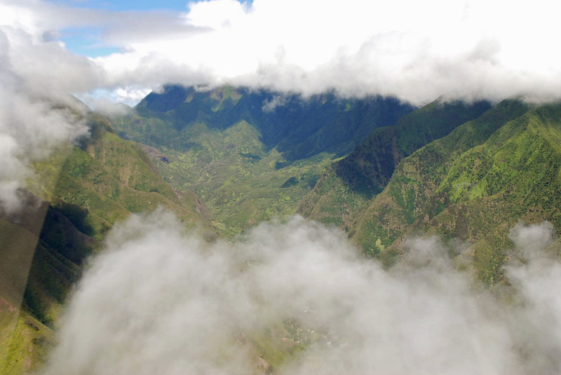 Flying through the clouds above the West Maui mountains.