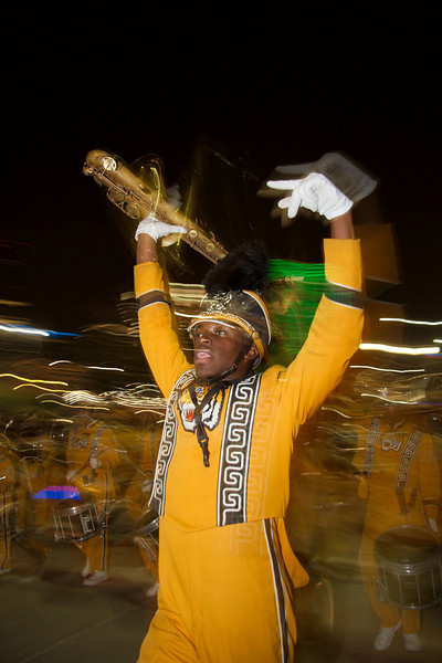 2008 Grambling Marching Band at Mardi Gras Parade in Victory Park<br /> Jerry McClure Photographer