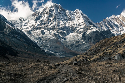 you can barely see the basecamp at the feet of annapurna I