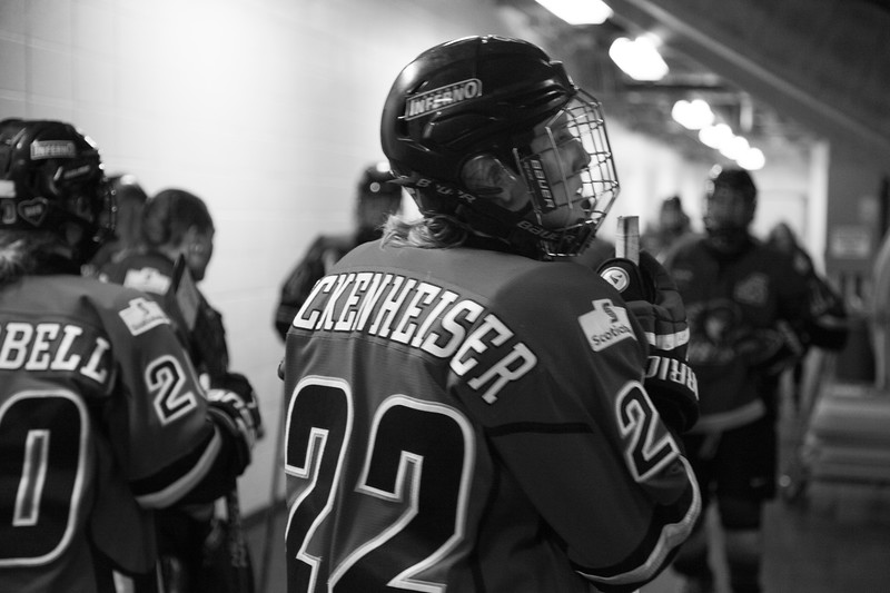 CALGARY(AB) February 26, 2016 - Hayley Wickenheiser of the Calgary Inferno prior to taking to the ice during Game 1 of the Canadian Womens Hockey League (CWHL) Semi-Finals. Hayley would score the first goal of the series, and the Inferno would go on to win the best-of-three series against the Brampton Thunder and advance to the Clarkson Cup Final to be held in Ottawa on March 13, 2016.