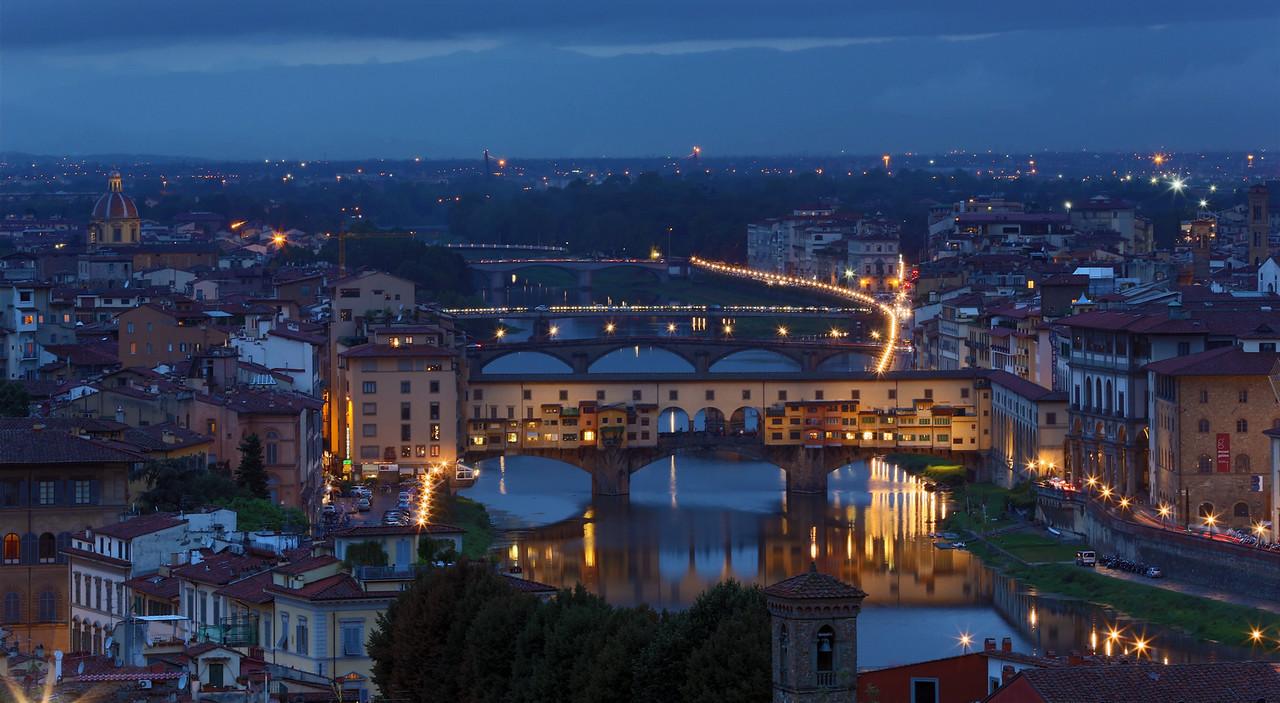 View of Ponte Vecchio and Ponte Santa Trinita bridges from Michelangelo Square
