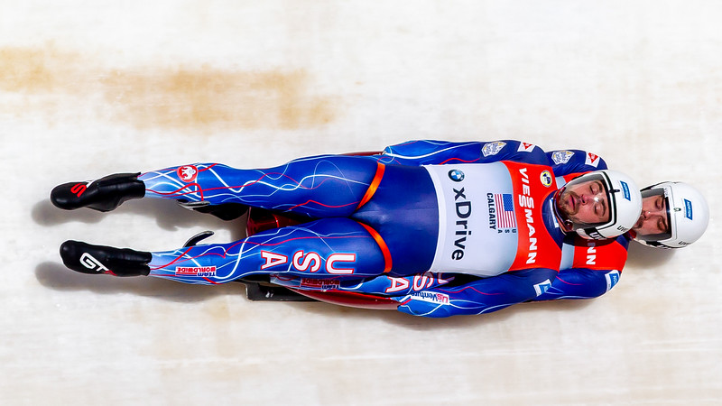 December 8,2018 - Calgary, AB - Jayson Terdiman and Chris Mazdzer of Team USA during Viessmann Team Relay World Cup competition at the Winsport Sliding Track.