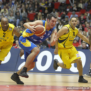 17 Jan 2010 - Birmingham NIA - Michael Tuck of the Cheshire Jets runs the line as Sheffield Sharks secured the first silverware of the season with a thrilling 89-86 victory over Chester Jets in the BBL Cup Final at the National Indoor Arena in Birmingham