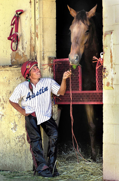 """Jockey Ralph Garcia at Grants Pass Downs with thoroughbred """"Toasty To"""".<br /> Craven"""
