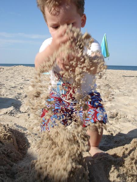 Sebastian and sand, Rehoboth, Delaware, 2007