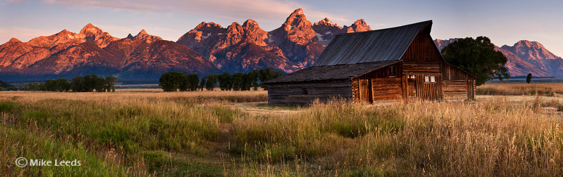 Old Barn near Jackson Hole Wyoming with the Teton Mountains in the background