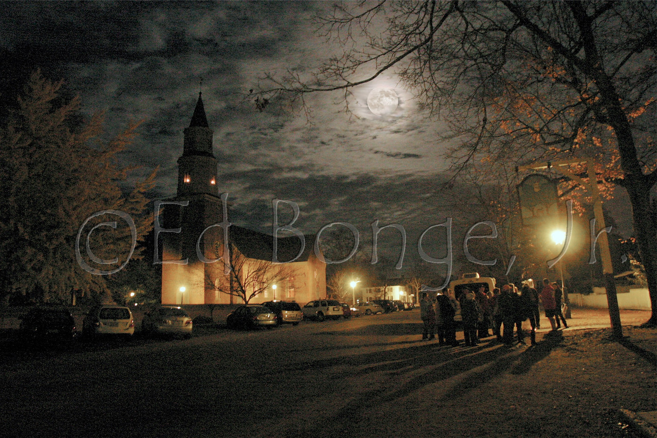 Soon after our walk begins and heads down W Duke of Gloucester Street, the Original Ghosts of Williamsburg Candelight Tour stops across from Bruton Parish Episcopal Church for another engaging ghost story.