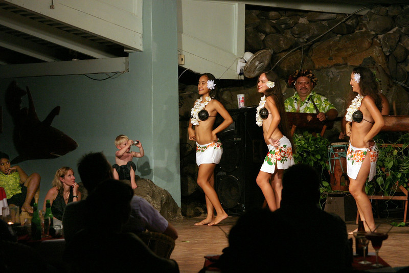 An aspiring photographer captures the evening entertainment at the Edgewater on the island of Rarotonga, in the Cook Islands.