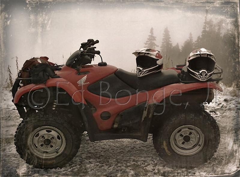 Honda ATV breaking for a next adventure.