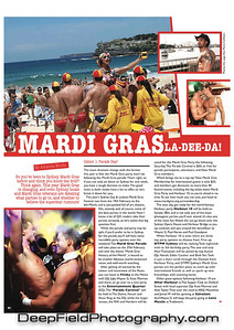Photo from Bondi Beach Flashmob published in QX Magazine, London (banner photo at top)  Article in QX issue 779 (www.qxmagazine.com)