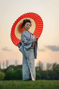 Kimono and Umbrella at Sunset