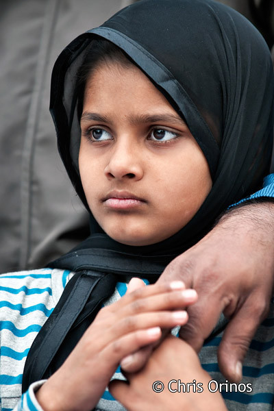 Middle-eastern young girl in Athens attending a Muslim celebration.