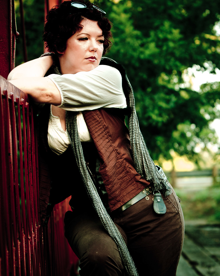 Jessica Dawn modeling her Steampunk at the Old Alton Bridge in Denton, TX.