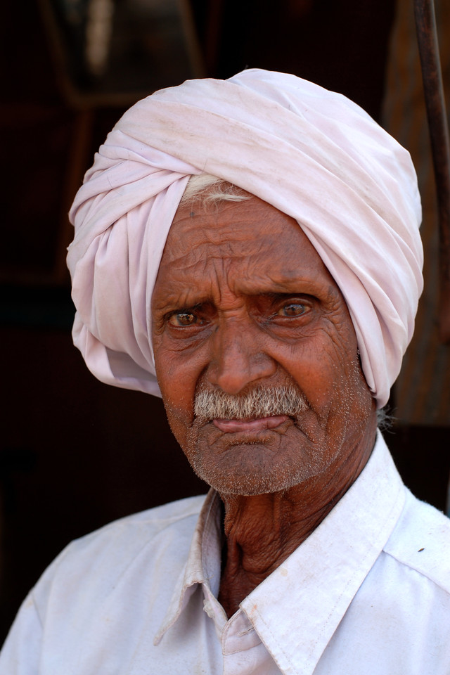 "India: Village leader. This handsome old man was the village leader. He kindly agreed to be photographed when I met him at at the village fair (called ""Haat"") at a village near Nagpur, Maharashtra, India."