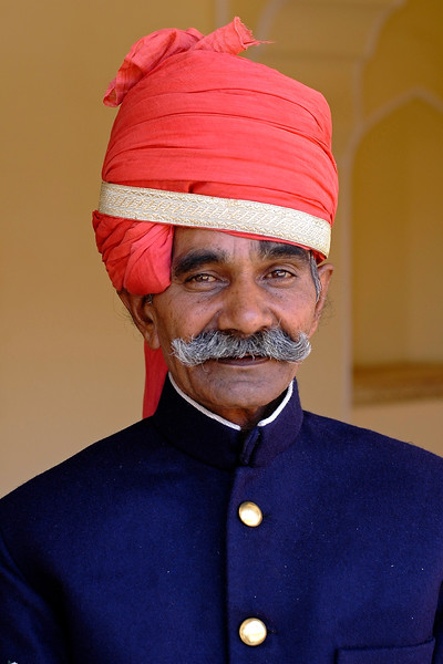 Portrait of the attendant at the Jaipur Palace, Jaipur, Rajasthan, India.