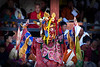 Masked dance at the Paro Tseche Festival of Dance. Paro, Bhutan. South Asia