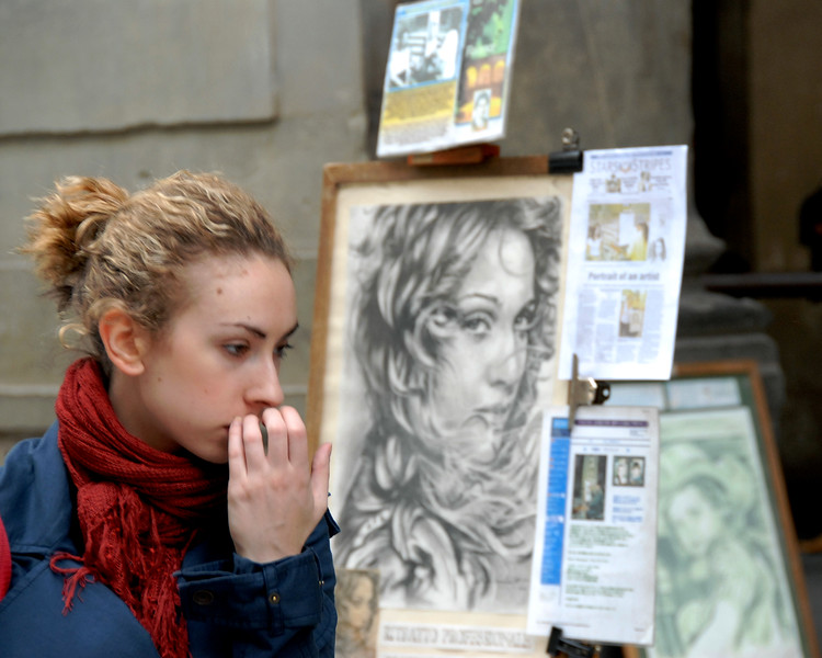 Portraits being draw in Florence, Italy, Europe.