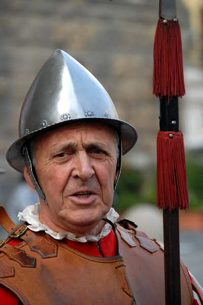 Italian man dressed in traditional warrior attire.