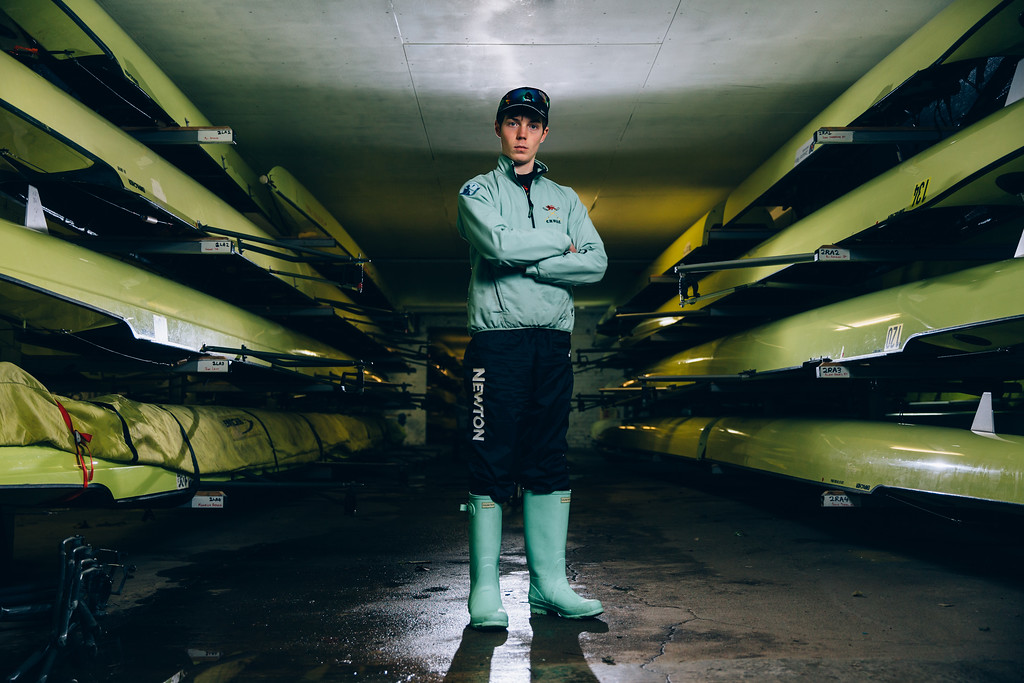 Matthew Holland, cox of Cambridge University Women's Boat Club in the boathouse of the Thames Rowing Club