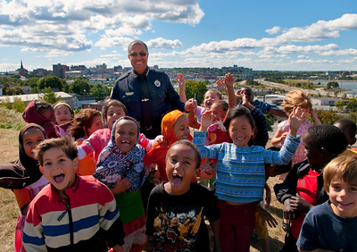 Portland Police Chief, James Craig with a class of East End Community School children.
