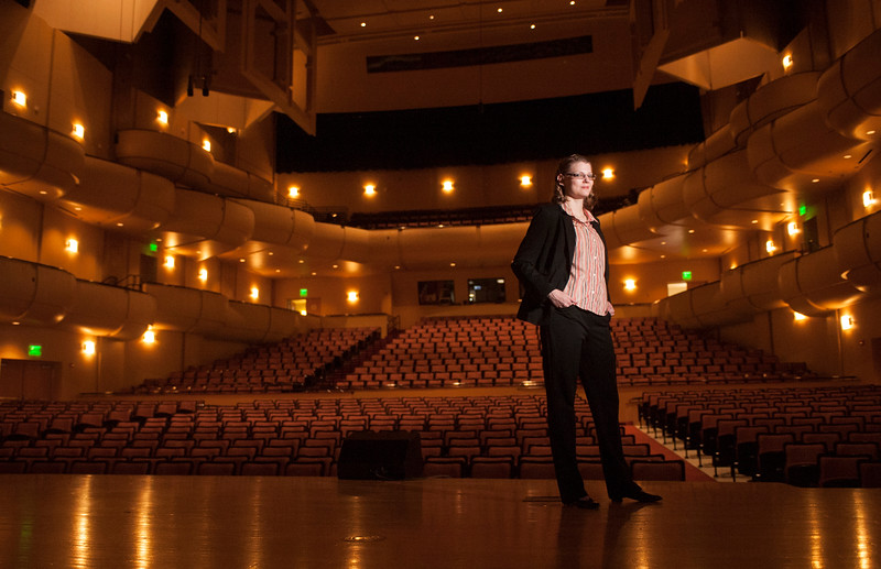 "Gabrielle Kane stands in the Stephens Performing Arts Center in Pocatello, Idaho on Sept. 24, 2014. Kane will be performing in her self-produced play ""Luck & Coincidences later this week."