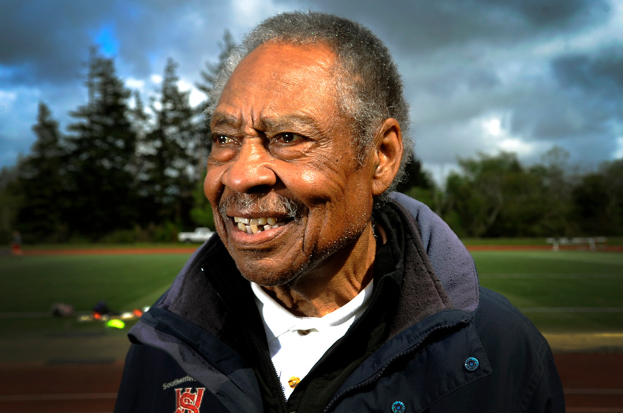 """Kermit Walker, the assistant track and field coach at Southwestern Oregon Community College, is a repeat  American Masters Outdoor Track & Field champion. Battling lung cancer, Kermit has completed thirty rounds of radiation and five chemotherapy treatments. When asked how long he plans to compete, the 81-year-old replies """"as long as I can breathe."""""""