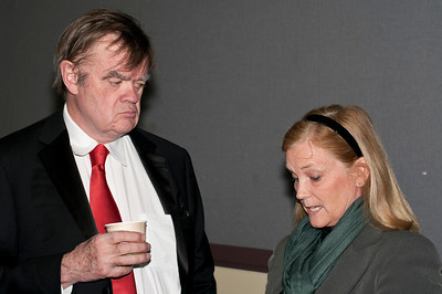Prairie Home Companion's own Garrison Keillor chatting with U.S. Congresswoman, Chellie Pingree at Merrill Auditorium in Portland.