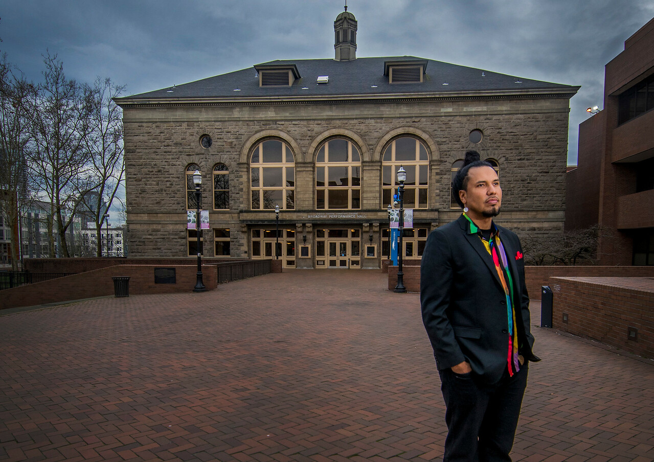 """Gynasi Ross, an alumnus of Seattle Central College, works as a poet, writer, musician, lawyer and activist from the Blackfeet Indian and Suquamish Nations.<br /> """"Seattle Central was pivotal in opening my eyes to bigger conversations about the world,"""" Gyasi said. """"I was a pretty mediocre student before, but my instructors helped me realize I was smart. They helped me put my ideas into language that up until that point I didn't have."""""""
