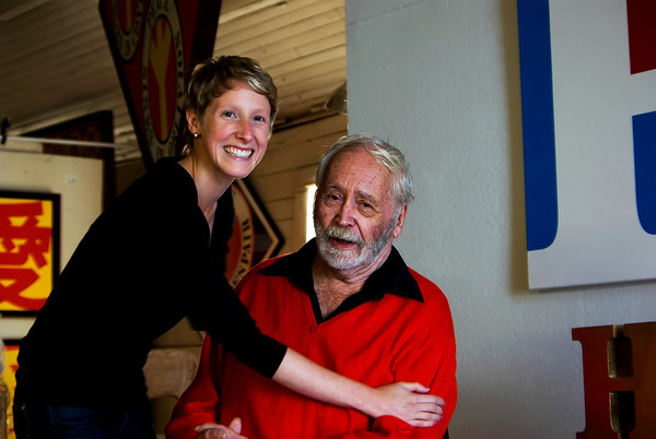 Robert Indiana and his assistant, Melissa. Robert Indiana, iconic 1960s artist