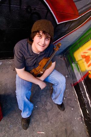 Violin-playing High School Senior, Gabe, for a senior portrait.