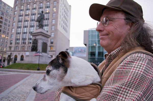 Portland's Poet Laureate, Steve Luttrell with his dog, Digger