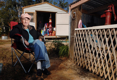 After spending several months in motels when her house in Waveland was destroyed by Hurricane Katrina, Claudette Cooley, 64, was able to buy a small shed that has been her home since July of 2006.  Without her own source of water for much of that time, Cooley was finally able to order a hand pump (right) that provided water to drink, wash and bathe.  On Friday, Dec. 7, she plans to finally leave the shed behind and move into an apartment.