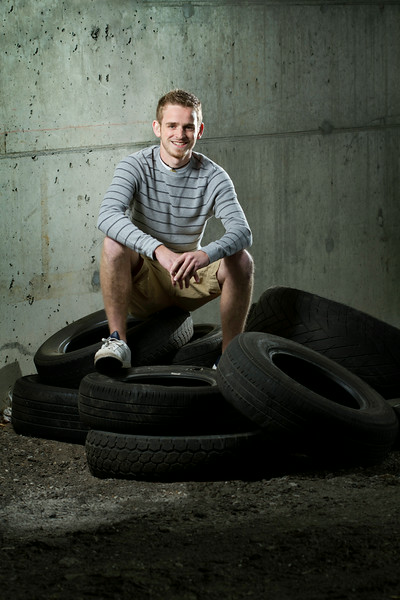 Adam Serwacki High School Senior Portrait - Pile of Tires Under 80/84 - Lake Station, Indiana