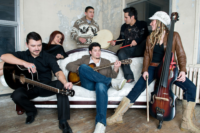 Jan 2010 Winnipeg Aboriginal Musicans<br /> From Left<br /> Front Row  JC Campbell, Don Amero, Marie-Josee Dandeneau<br /> Back Row Tracy Bone, Wab Kinew, Michel Lee J Bruyere