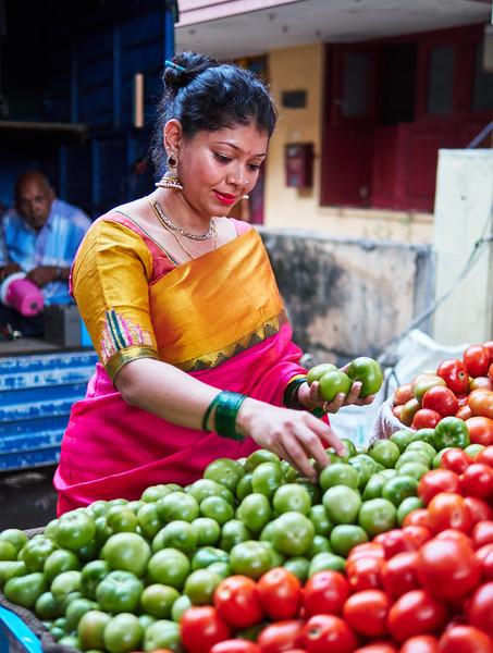 Sahana at the Vegetable Stand - Bangalore, India