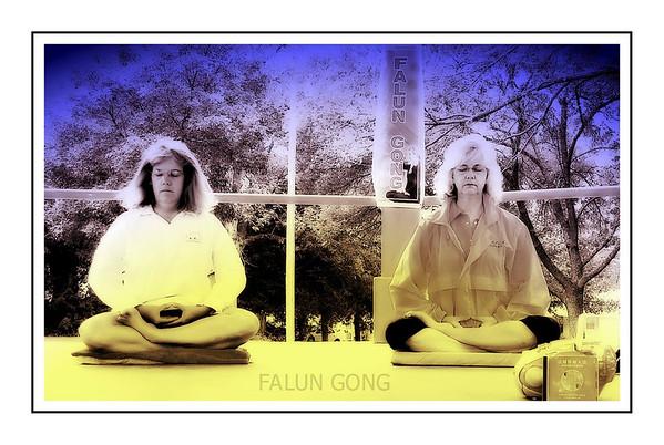 Selfie: Falun Dafa Meditation Exercise At Park