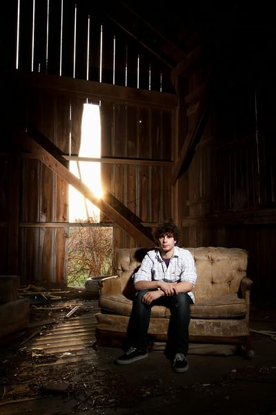 Josh Ryan High School Senior Portrait Abandoned Barn - Crown Point, Indiana