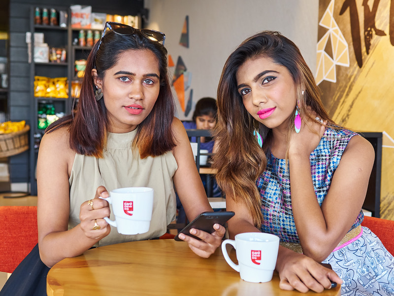 Priya and Sarika, Cafe Life - Bangalore, India