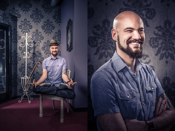 Combination of a man sitting in a chair on the left, with a medium portrait on the right of the man amused.
