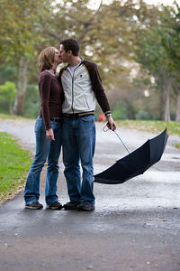 Tommy and Sarah in the park on a rainy day.