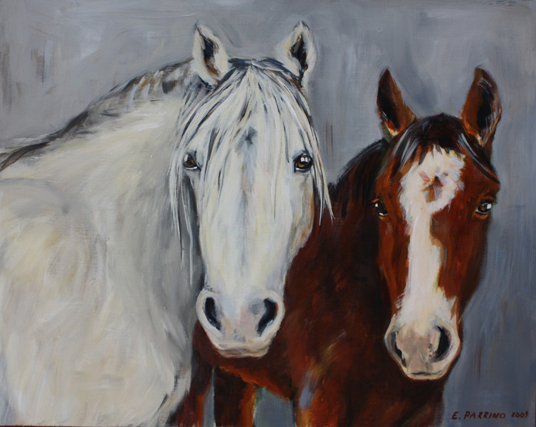 Mystic and Wyatt 16x20 Acrylic on Canvas 2009 *Benefits Equine Voices Horse Sanctuary