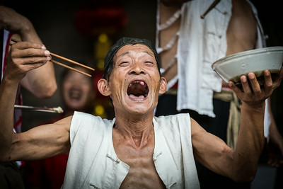 A performance of a traditional Chinese play in Jicheng, Hubei Province.