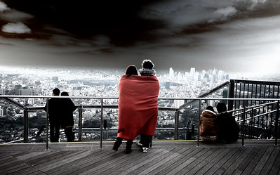 A few couples enjoying the view from the top of Roppongi Towers, Tokyo
