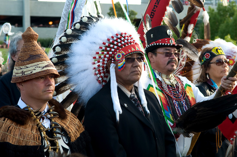 July 2010 Winnipeg<br /> From Left, Assembly of First Nations National Chief Shawn A-in-chut Atleo, Assembly of Manitoba Chiefs Grand Chief Ron Evans, Southern Chiefs Organization Grand Chief Morris J Swan-Shannacappo