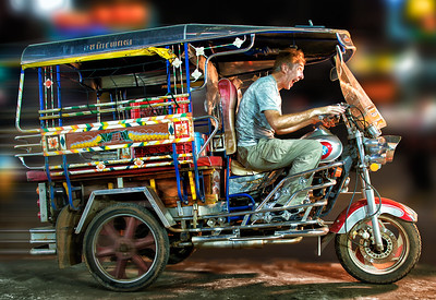 I borrowed a Tuk Tuk in Thailand and sped away!  Nong Khai, Thailand