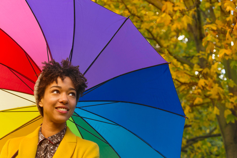 smiling multicoloured umbrella
